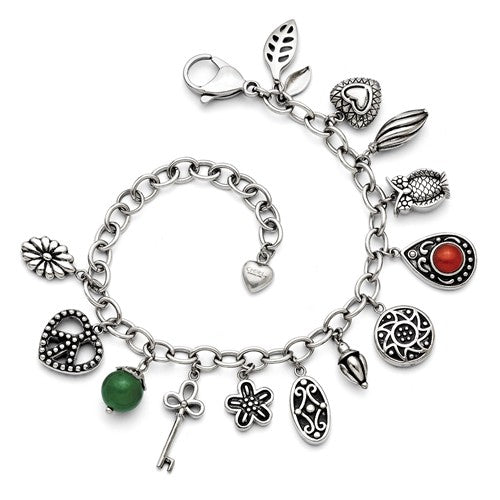 Stainless Steel Synthetic Jade and Red Glass Charm Bracelet with 2 inch extension