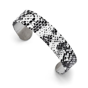 Stainless Steel Black and White Textured Thin Cuff Bangle