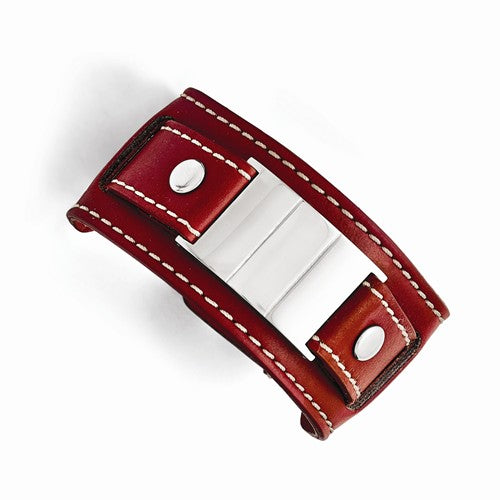 Stainless Steel Red Leather Polished/Brushed Buckle Bracelet