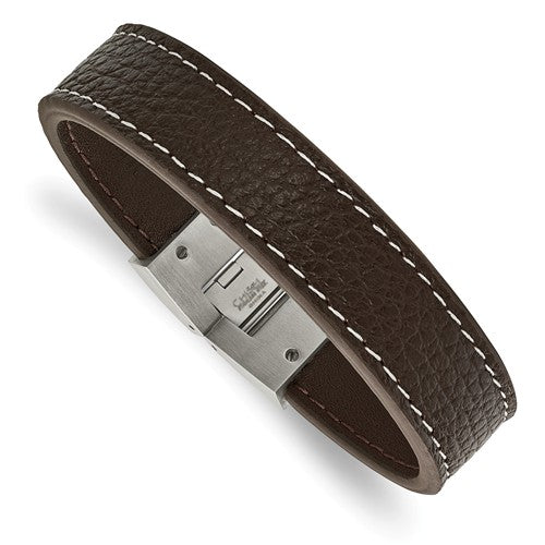 Stainless Steel Polished Brown Leather Bracelet