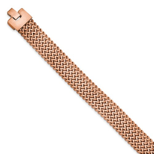 Stainless Steel Brushed Rose IP-plated Woven Bracelet