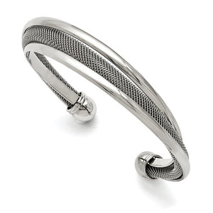 Stainless Steel Polished Mesh Twist Cuff Bangle Bracelet