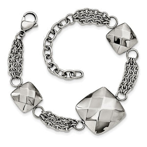 Stainless Steel Polished Hollow Squares with 2in. Ext. Bracelet