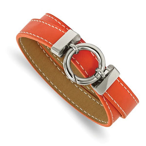 Stainless Steel Polished Orange Leather Wrap Bracelet