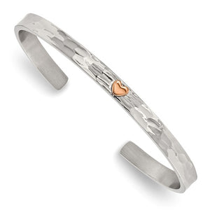 Stainless Steel Polished Rose IP-plated Hammered Heart Cuff Bangle