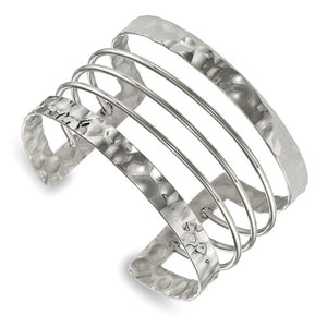 Stainless Steel Polished Hammered Cuff Bangle