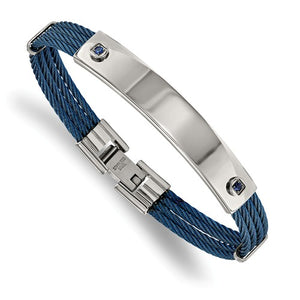 Stainless Steel Polished Blue IP-plated Cable Blue CZ ID Bracelet