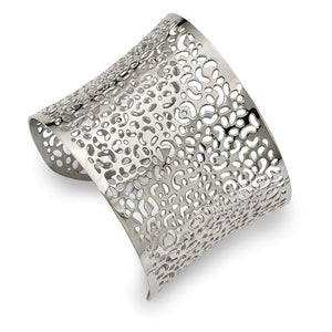 Stainless Steel Polished Laser cut Design Cuff Bangle