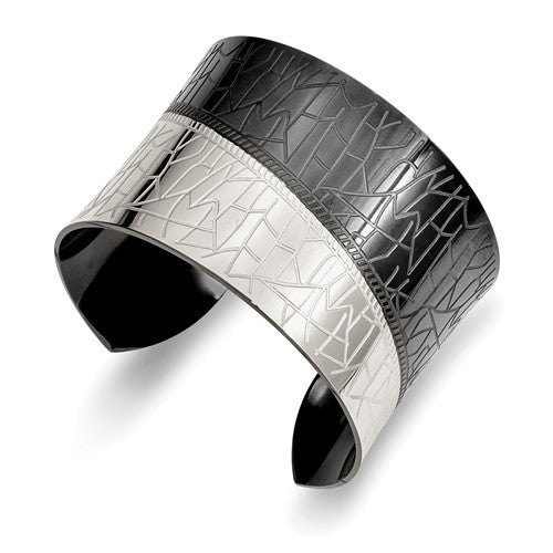 Stainless Steel Polished Black IP-plated Cuff Bangle