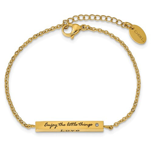 Stainless Steel IP-plated Yellow CZ Enjoy the little things with 1.5in ext Bar Bracelet