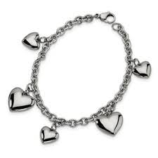 Stainless Steel Polished Hearts Bracelet