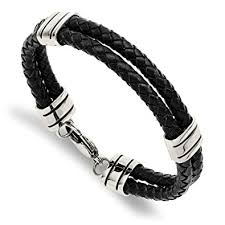 Black Double Leather Bracelet
