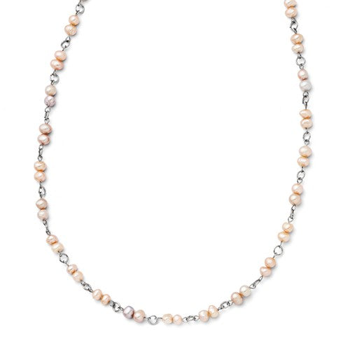 Stainless Steel Slip-on Freshwater Cultured Pearl Necklace