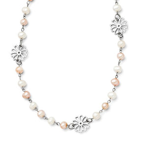 Stainless Steel Slip-on Freshwater Cultured Pearl with Flowers Necklace