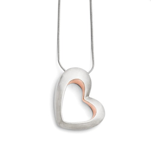 Stainless Steel Brushed and Rose IP-plated Heart Necklace