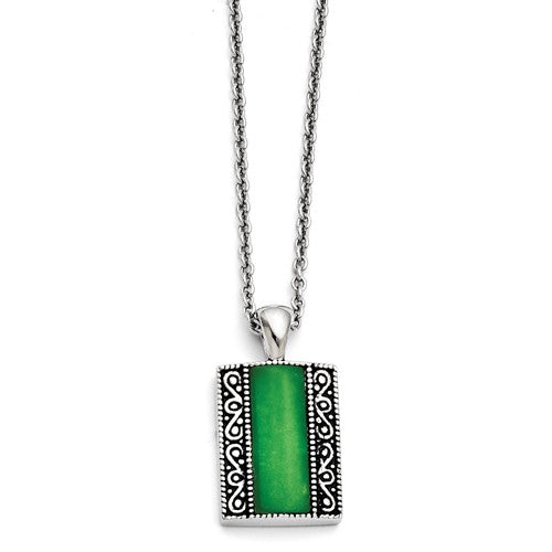 Stainless Steel Synthetic Jade Antiqued Rectangular Necklace