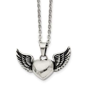 Stainless Steel Antiqued and Polished Heart with Wings Necklace