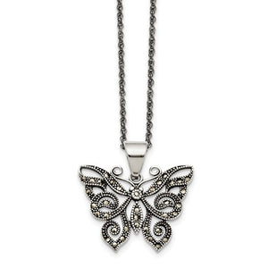 Stainless Steel Butterfly Necklace with Crystals