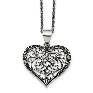 Stainless Steel Textured Heart Necklace with Crystals