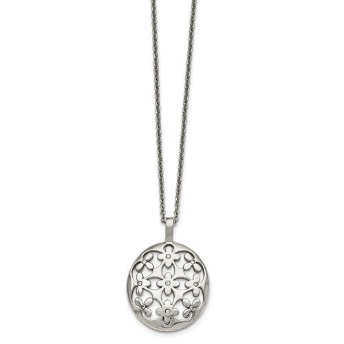 Stainless Steel Polished Circle with CZ Necklace
