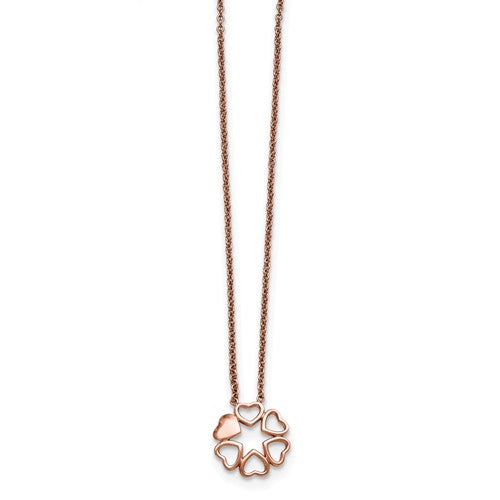 Stainless Steel Polished Pink IP-plated Circle of Hearts Necklace