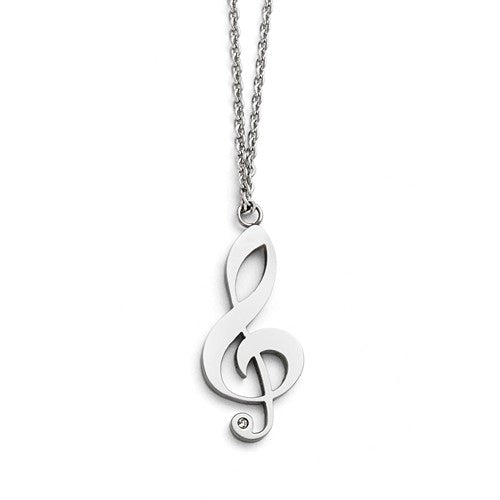 Stainless Steel Polished Treble Clef, CZ Necklace