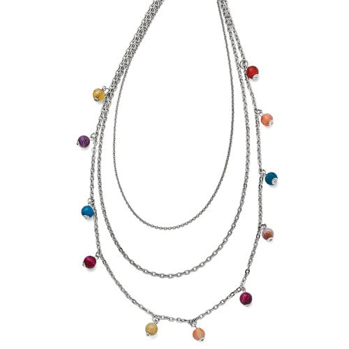 Stainless Steel Polished Multi Colored Agate 3-strand Necklace