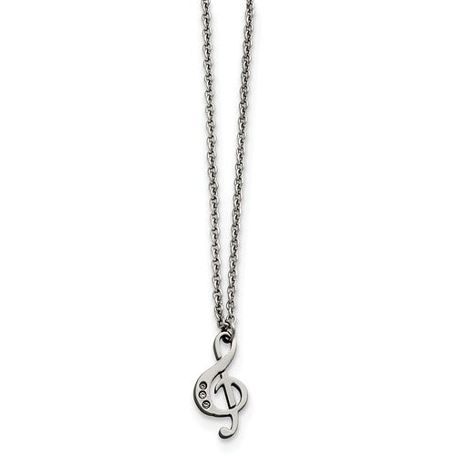 Stainless Steel Polished Treble Clef with Crystals Necklace