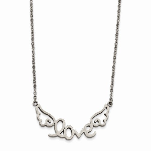 Stainless Steel Polished LOVE with Wings Necklace