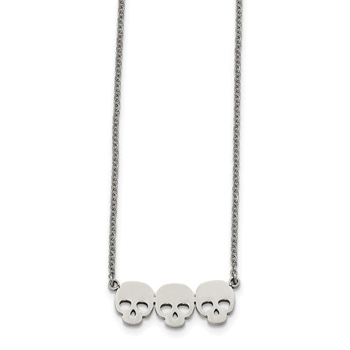 Stainless Steel Polished Three Skull Necklace
