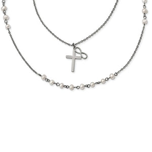 Stainless Steel with FWC Pearls Double Strand Infinity Cross Necklace