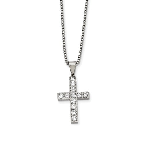 Stainless Steel Polished Round CZ Cross Necklace
