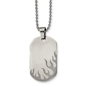 Flames Dog Tag