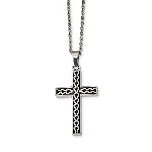 Link Inlay Cross Necklace