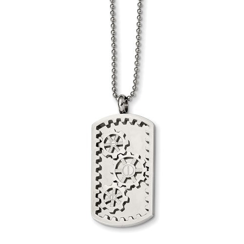 Gears Dog Tag Necklace