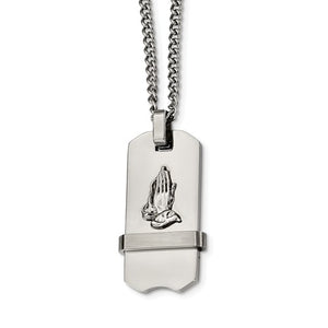 Praying Hands Dog Tag Necklace