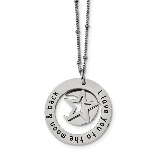 Stainless Steel Polished I LOVE YOU TO THE MOON Necklace