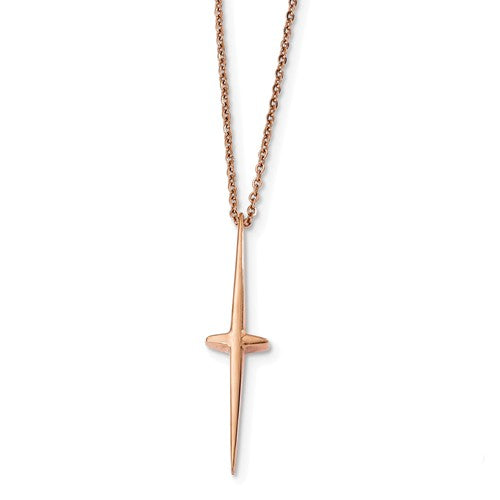 Stainless Steel Polished Rose IP-plated Cross Necklace