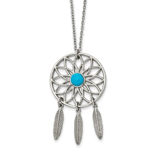 Stainless Steel Polished with Imit.Turquoise DreamCatcher Necklace