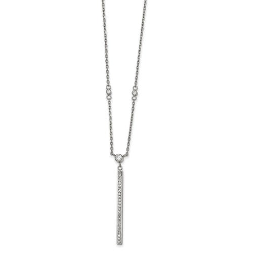 Stainless Steel Polished with Preciosa Crystal Bar Necklace