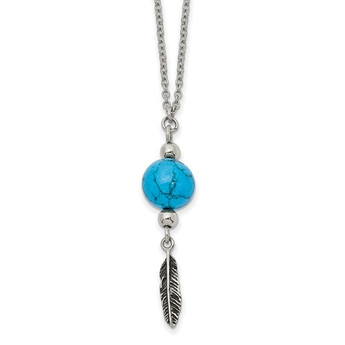Stainless Steel Antiqued/Polished Imit.Turquoise Feather Necklace