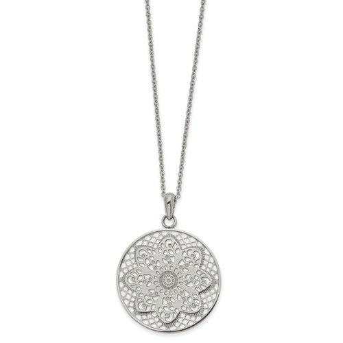 Stainless Steel Polished Cut-out Flower Circle Necklace