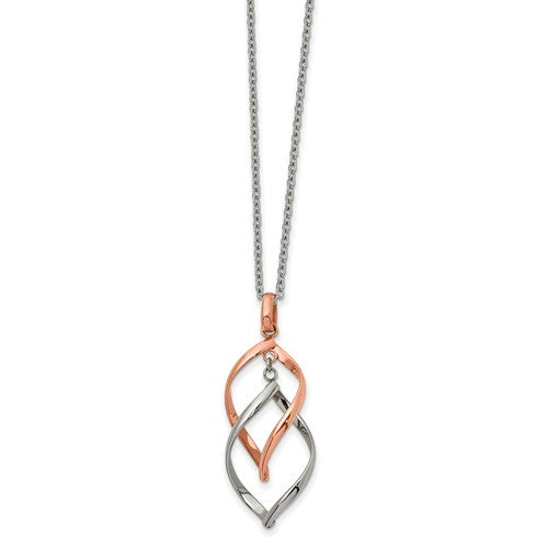 Stainless Steel Polished Rose IP-plated Necklace