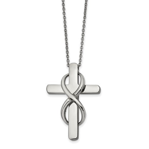 Stainless Steel Polished Cross with Infinity Necklace
