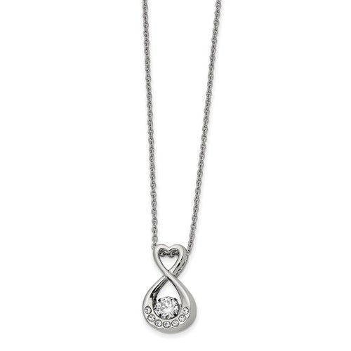 Stainless Steel Polished Vibrant Moving CZ Infinity Heart Necklace