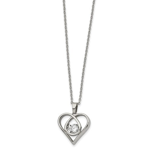 Stainless Steel Polished Vibrant Moving CZ Heart  Necklace