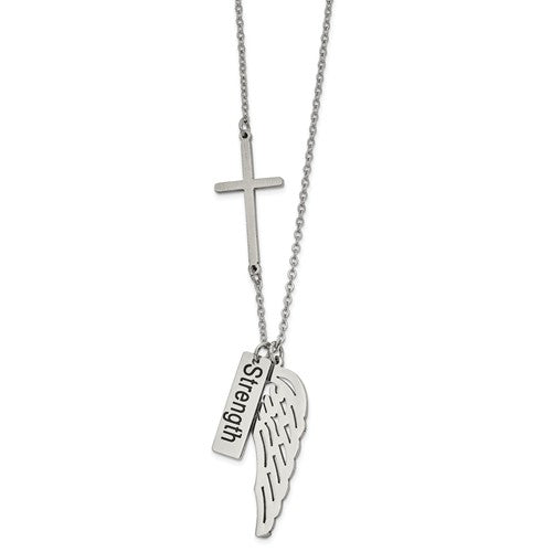 Strength Wing and Cross Necklace