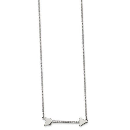 Stainless Steel Polished with CZ Arrow Necklace