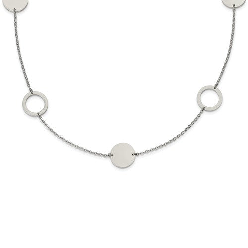 Stainless Steel Polished Circle Link Necklace