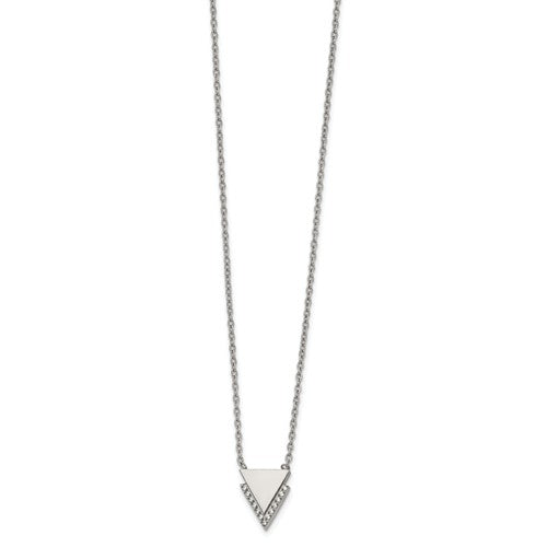 Stainless Steel Polished with CZ Double Triangles Necklace